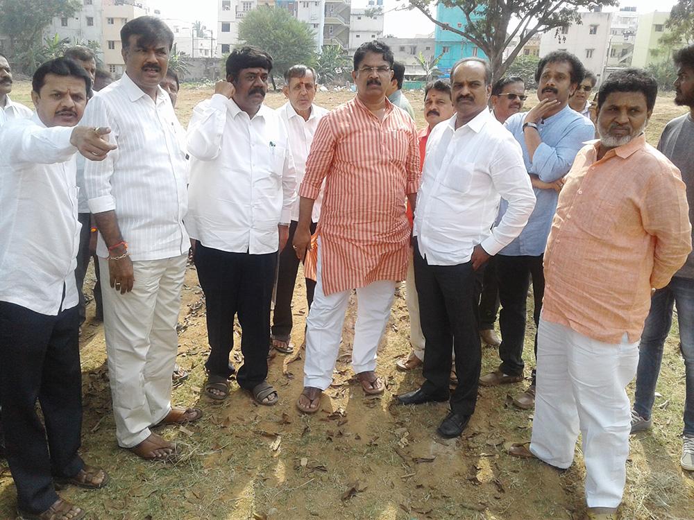 Ground visit for Prepartion of Parivarthana yatra at Vishvesvaraya Ground