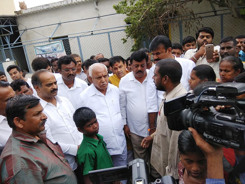 Flood Visit to Nagawara & SHivananda Circle With BSY